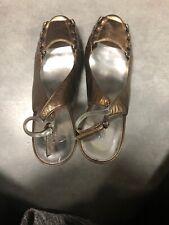 Bronze Calvin Klein Peep Toe Heels With Metal Detailing Never Worn Size 9