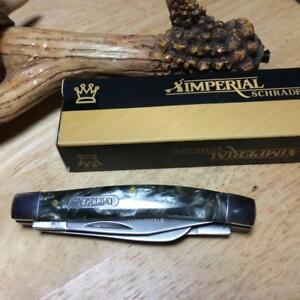 "Imperial Schrade Gray Smooth POM Stockman 3 1/4"" Pocket Knife IMP45"