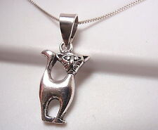 Bemused Looking Cat Pendant 925 Sterling Silver Corona Sun Jewelry kitty meow