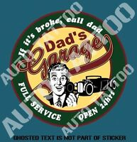 DAD'S GARAGE Decal Sticker for Mancave Rat Hot Rod Retro Vintage Decal Stickers
