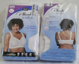 NWP PLAYTEX 18 HOUR TAGLESS FRONT CLOSE Size 48D Flex-Back Wirefree White 4695