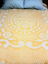 New listing Vintage Chenille Bedspread Blanket Sunshine Yellow - Great Pattern!