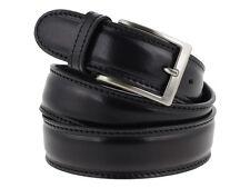 Cintura uomo pelle nera classica con impuntura 110cm (taglia pantalone 44/46)