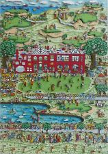 "James Rizzi ""Daddy's Country Club"" 1989 Hand Signed 3-D Serigraph Pop Art"