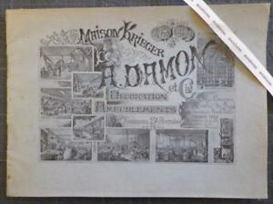 Rare Catalogue MAISON KRIEGER 19e DECORATION MOBILIER Meubles Sièges Damon Linke