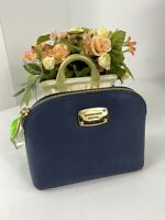 Michael Kors Cosmetic Bag Jet Set Dome Blue Leather Top Zip M2