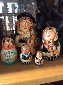 """Wooden Set Of 5 Nesting Russian Dolls, Jewish Design, Musical, Outer Doll 6.5"""""""