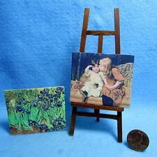 Dollhouse Miniature 2 Canvas Painting Pictures and Wood Art Easel G7925