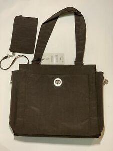 Baggallini Tote Black Nylon Organizer Shopper Travel Shoulder Bag + Coin Purse