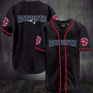 New England Patriots Baseball Shirts Button-Down Short Sleeve Uniforms Tee Tops