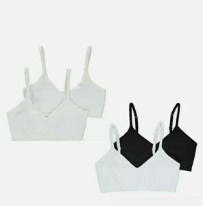 TOP QUALITY GIRLS 2 PACK BLACK & WHITE SEAM FREE CROP TOP FIRST BRA AGE 9-16