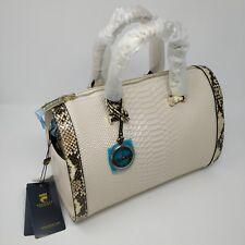 Zooler Animal Pattern Handbag  Off White Ivory Textured Scales Gold Hardware Bag