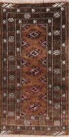 Brown Balouch Afghan Hand-Knotted Oriental Area Rug Traditional Wool Carpet 2x4