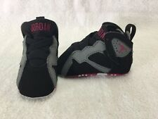 Nike Air Jordan 7 Retro Infant Baby Girls Black/fuchsia/grey crib Shoes~size 2 C