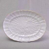 Meissen Schwanenservice Goldrand, ovale Platte, 30 cm, Schwanendessin, 1.Wahl