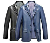Mens Lapel Blazer Single Breasted Slim Casual PU Leather Coat Jacket Outerwear