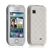 Housse coque etui gel rond transparent pour Samsung Wave 575 S5750 couleur blanc