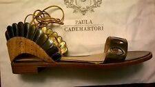 "NWB Paula Cademartori $845.""LOTUS FLAT"" Gold/Silver/Cork Ankle Tie Sandals 8.5"