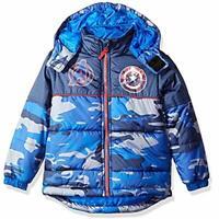 Marvel Boy's Captain America Camo Puffer Coat Jacket 100% Polyester Size 6