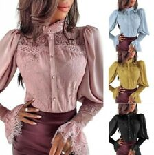 Women's Ladies Lace Blouse Tops Puff Sleeve Shirt Button Front Slim Fit Formal D