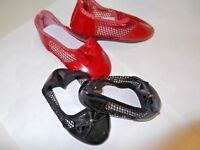 BLACK RED OR WHITE PATENT SHOES WITH NETTED SIDES IN A VARIETY OF SIZES