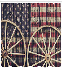 Shower Curtain Antique Wheels American Flag Western Decor 84 Inches Extra Long