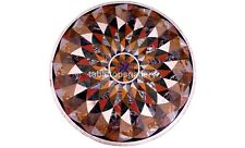 "36"" Marble Round Dining Table Top Geometrical Inlay Art Interior Home Decor B566"