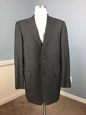 Hickey Freeman Loro Piana Super 120 Saks Charcoal Gray pinstripe Suit 42 L Wool
