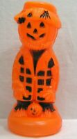 "Vintage HALLOWEEN Orange and Black Blow Mold Light Hobo JOL Man 12"" Works 1970s"
