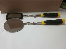 2pc BLACK & YELLOW RECTANGULAR & ROUND TELESCOPIC INSPECTION MIRROR EXT TO 35""