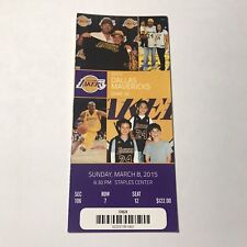 Los Angeles Lakers Vs Dallas Mavericks NBA Basketball Ticket Stub March 8 2015