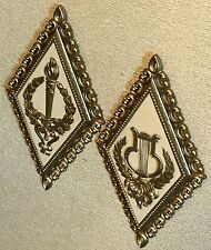 Homco Home Interiors Musical Plaque Gold Lyre & Torch Plaque Pair Vintage Vgc