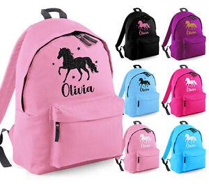 Girls Personalised Horse Glitter Backpack Kids Ride School Rucksack Bag