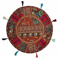 Indian New Vintage Ethnic Decor Indian Patch Cushion Round Floor Pillow Stool