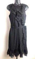 White House Black Market WHBM Sleeveless Dress Womens Sz 4 Polka Dot Layer