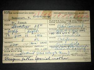 1938 DODGERS: Pete Coscarat, SIGNED (Heilbroner) 3x5, D.2002