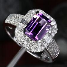 Emerald Cut 6x8mm Amethyst 14K White Gold Pave .75ctw Diamonds Engagement Ring