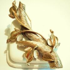 Vintage Brooch by Tortolani Tree Branch with Vine Antiqued Gold Plating Good A2