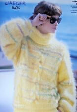 """JAEGER Knitting Pattern 5664-Ladies Mohair Cowl Neck Sweater 30""""-40"""" Not a copy"""