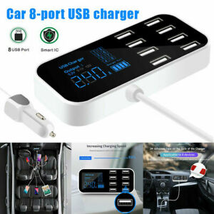 Multi USB Hub 8 Port Car Phone Charger Charging Stations with LED Display CS