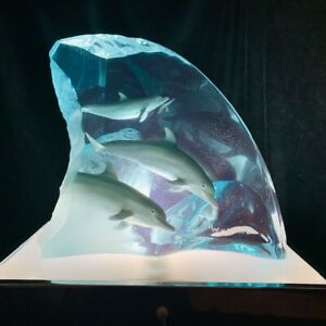 """Wyland lucite sculpture """"Dolphin Tribe"""" With Vintage Lighted Display Box"""