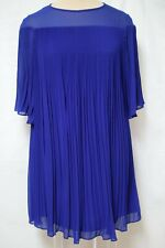 77822a5b152 Erin Featherston Micro Pleated Blue Poly Chiffon Mini Dress-Butterfly  Sleeve-4