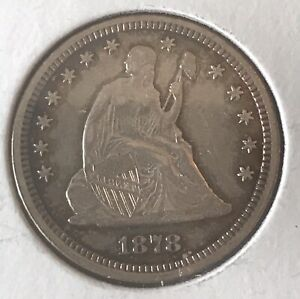 1878-cc. With motto, Seated Liberty quarter  , XF, Scarce