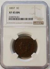 1837 1C CORONET HEAD LARGE CENT NGC XF 45 BN