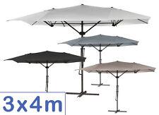 Sonnenschirm 3x4m Ampelschirm Gartenschirm eckig Schirm 300x400 weiß braun grau