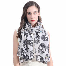 Candy Skulls Print Womens Large Scarf Shawl Sarong Wrap Soft Lightweight
