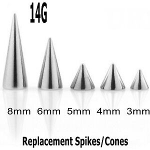Threaded Spikes Cones 10 Spare Surgical Steel Body Piercing Spare Parts 14g