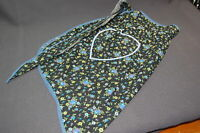 Vintage Ladies Half Black Cotton Floral Apron