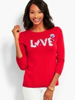 NEW $89 TALBOTS Red Hand-Sewn Sequined LOVE Sweater Sz PXL, P XL ( 18P,20P )