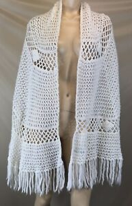 Vintage Fresca Crocheted White Stole - Made In Japan